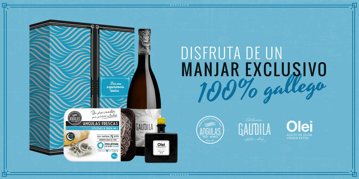 Angulas rio mino pack regalo gourmet aceite angulas vino